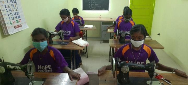 Hope Girls Obtaining Sewing Skills