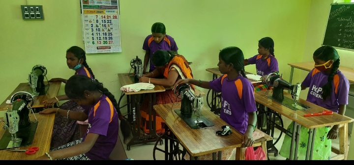 Hope Girls Practicing Sewing Skills