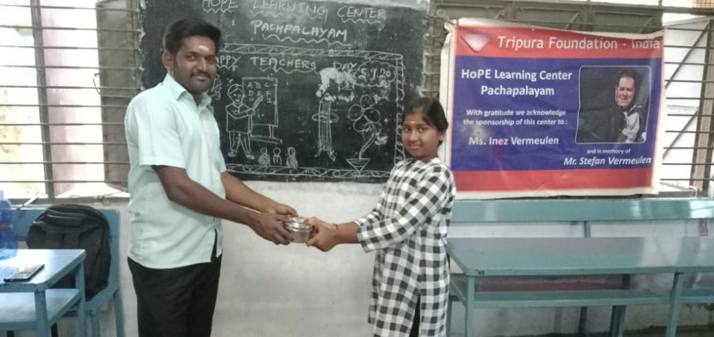 Sucharitha receiving meals at Hope Station