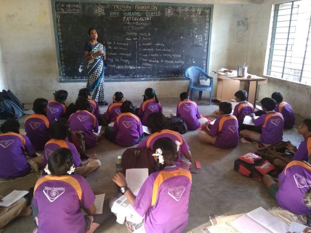 Mrs. Kavitha teaching at the hope station
