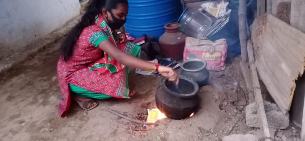 Hope Student Yazhini cooking meals at home.